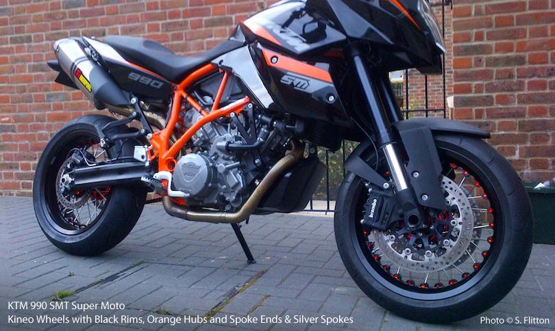 KTM 990 SMT Super Moto with Kineo Wheels Black and Orange