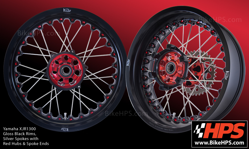 Yamaha XJR1300 Kineo Spoked Wheels Gloss Black , Red & Silver
